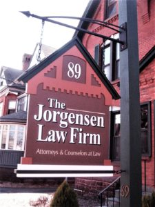 Hanging blade sign at Jorgensen Law Firm in Hartford CT